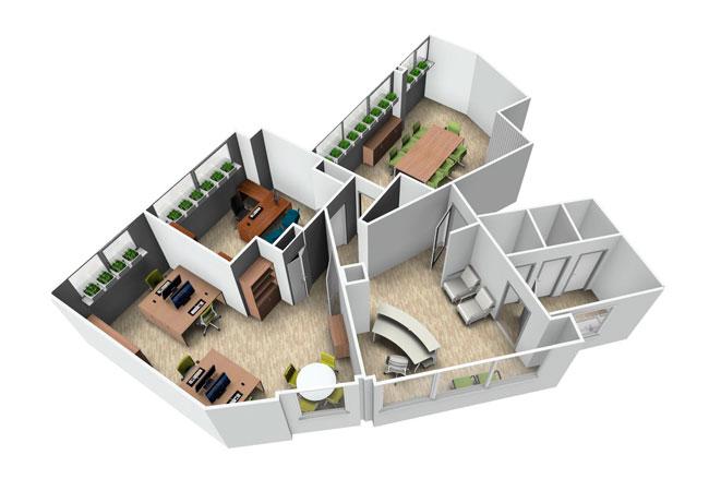 Dise o econ mico para tu oficina de 100m2 equipamiento for Planos de oficinas pequenas modernas