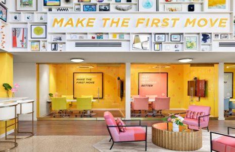 Descubre el diseño de los 60 de la oficina Bumble