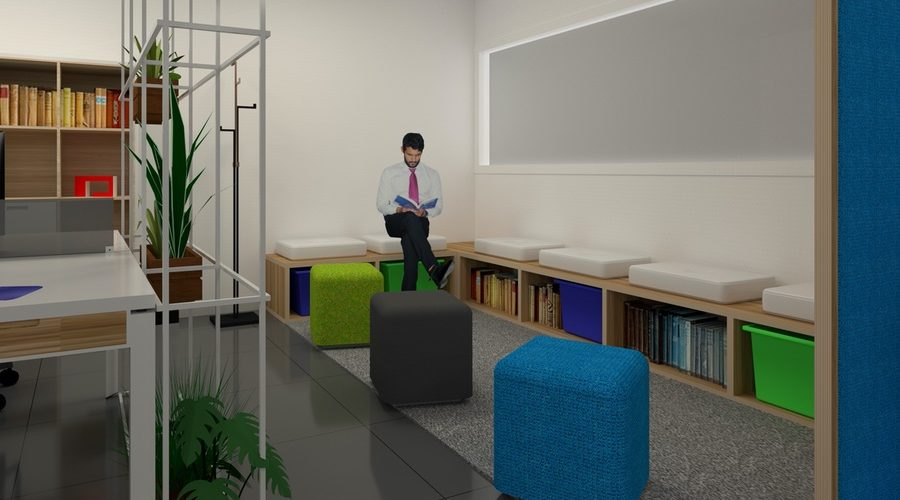 biblioteca zona de oficina