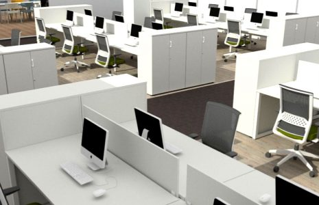 Proyecto de interiorismo Open Space, zonificación y mobiliario