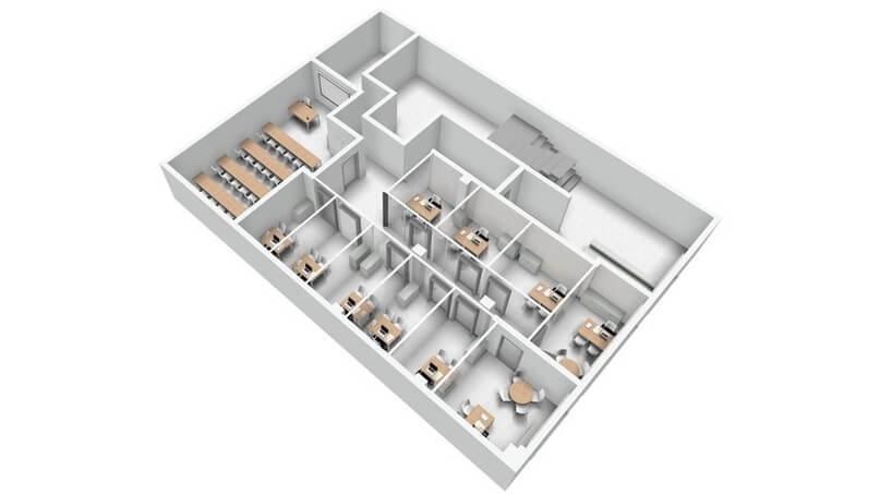 reformas de oficinas en 3d plano